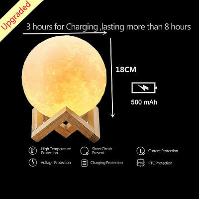 18CM 3D Print Magical Moon Night Light Table Lamp Touch Control Home Decor Gift
