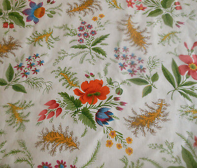 Vintage 70's Retro French Herbal Floral Cotton Fabric ~Tangerine Blue Green Gold
