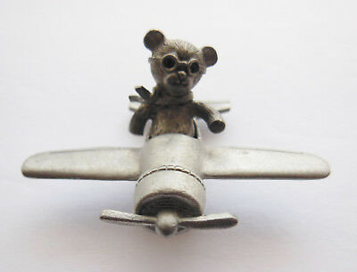 Vintage Spoontiques Pewter Airplane Figurine With Bear Pilot - #667 - 1986