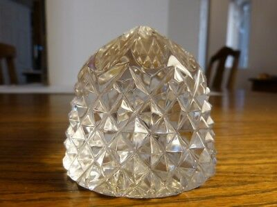 Vintage Golden Crown Hand Cut Lead Crystal E&R West Germany Paperweight