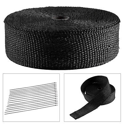 15M BASALT TITANIUM HEAT WRAP EXHAUST MANIFOLD + 10 STAINLESS CABLE TIES 30cm