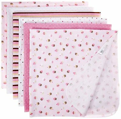 Luvable Friends Flannel Receiving Blankets, Pink, 6 Count New