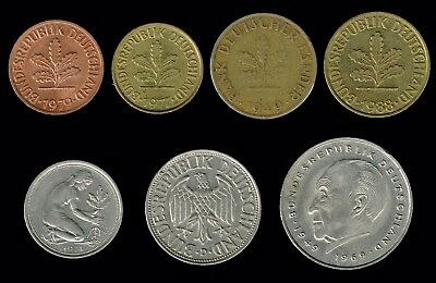 "GERMANY:- 7 different Post WW2, Federal Republic ""D"" mint Mark  coins . AP6717"