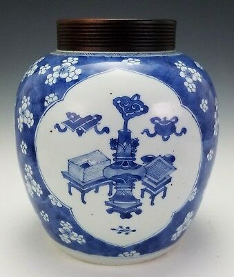 Antique Kangxi Period Chinese Porcelain Ginger Jar W/ Blue & White Glaze