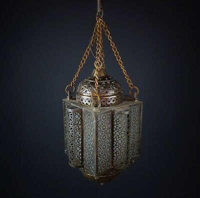Antique Frosted Glass Shade Brass Hanging Lamp Swag Slag Light Gothic Medieval
