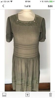 Vintage 1930s Khaqi Voile Prairie Dress Size S*embroidered*festival*