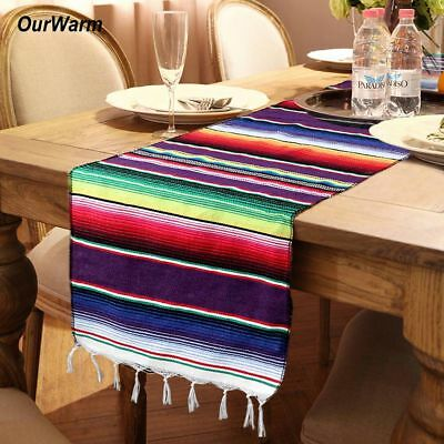 Mexican Serape Tassel Table Runner Wedding Party Home Decor Cotton Tablecloth