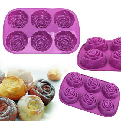 6 Rose Flower Non-Stick Silicone Muffin Pan Tray Soap Pudding Baking Mould Tools
