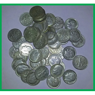 90% Junk Silver US Coins Roosevelt Dimes Pre 1965 Mixed Dates $.50 Face Value