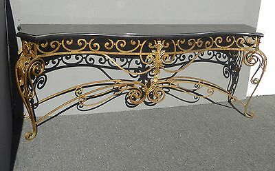 Vintage French Provincial Ornate Gold Wrought Iron Black Granite Console Table