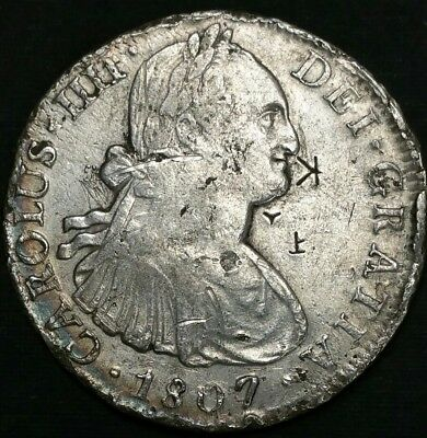 1807 TH Mexico 8 Reale Spanish Milled Bust US First Silver Dollar Cob World Coin