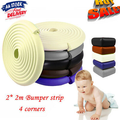 2x 2M Kids Baby Safety Foam Rubber Bumper Strip Safety Table Edge Corner Protect