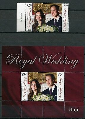 Niue 2011 Royal Wedding Kgl. Hochzeit Prinz William Kate 1183-84 Block 163 MNH