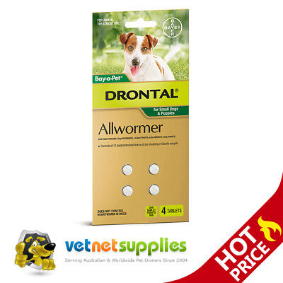 Drontal Allwormer Worming Tablets for Puppies & Small Dogs 3kg x 4 Tablets