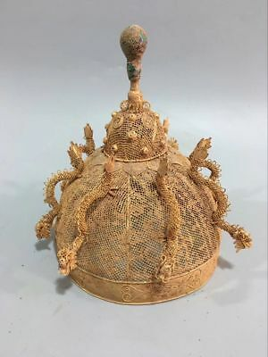 Chinese Ancient Old Bronze Gold Gilt Dragon Emperor Hat Cap Crown Sculpture