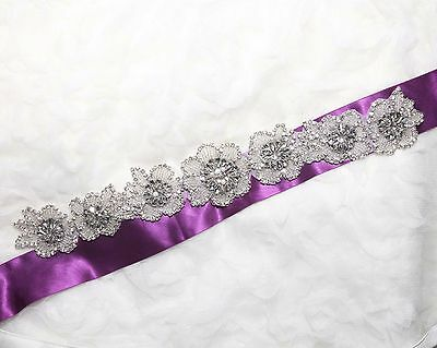 Pearl Rhinestone Crystal Wedding Long Flower Chain Sash Belt Applique Trim