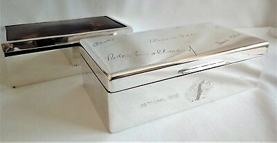 2 Silver Cigarette Boxes One Art Deco 'Faux' Tortoiseshell One Hereditary Peer