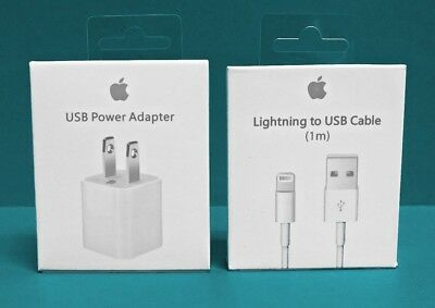 Original Apple Lighting USB Charger Set Cable & Plug iPhone 5 6 7 8 SE PLUS
