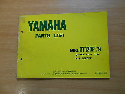 PARTS LIST catalog catalogue Teile Katalog Yamaha DT 125 E (1G0 ...