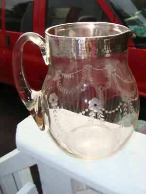 Sterling Silver Overlay and Etched  Juice Water Pitcher Large