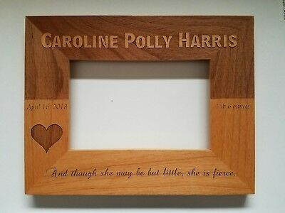 Personalized Laser Engraved 4x6 picture frame little baby newborn birthday gift