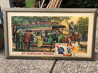 Vintage Pabst Blue Ribbon Beer Framed Horse Drawn Trolley Lithograph Picture