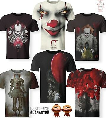 New Pennywise Shirt Stephen King It Movie Horror Clown 3D Print Men Women S-7XL