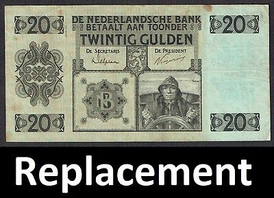 Netherlands 20 Gulden 1926 Roerganger Replacement type1 P44 MWR RC1 PL50.a1.R