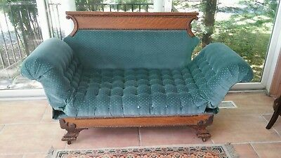 Antique Victorian Tiger Oak Green Velvet Fainting Couch Chaise Lounge Day Bed