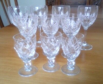 10 cut glass wine and sherry glasses