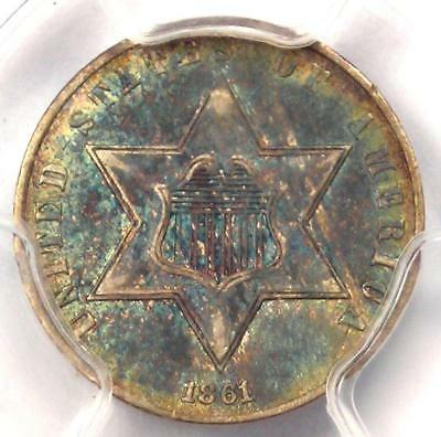 1862 Three Cent Silver Piece 3CS - PCGS AU Details - Rare Civil War Date!