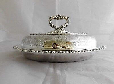 Excellent Antique Vintage Silver Plated 3 Piece Oval Entree Dish #1