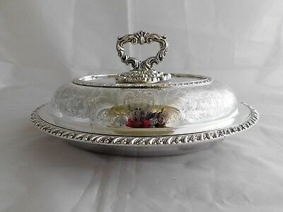 Excellent Antique Vintage Silver Plated 3 Piece Oval Entree Dish #2