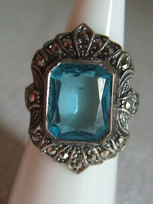 STERLING Silver 925 Ring LONDON BLUE Emerald CUT Crystal 5TCW Size 6 VINTAGE