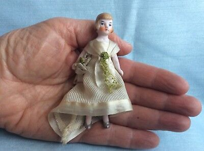 Tiny Antique German Bisque Dollhouse Flapper Bride Doll Original Clothes Bouquet