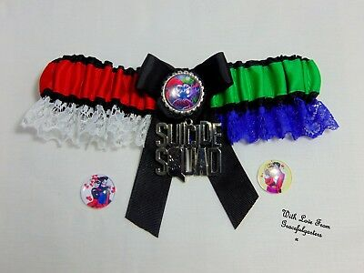 Harley quinn batman suicide squad lace bridal wedding garter.