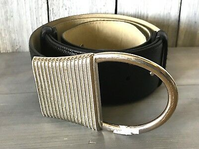 "Stunning Vintage Estate High End Black Faux Snake Skin Belt 35""- 41"" C638"