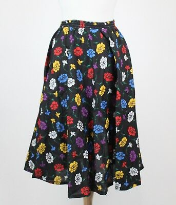 Vintage floral 80s skirt flower black NEW with tags sz M simple a-line
