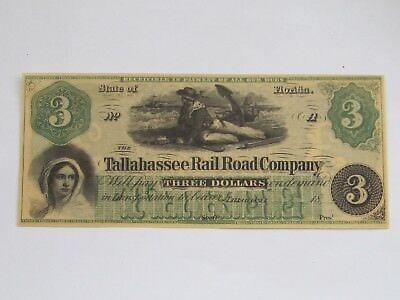 "Rare Three Dollar Unissued Banknote ""Tallahassee Rail Road Company"" Florida"