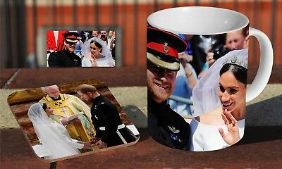 Royal Wedding Prince Harry And Meghan Cart Coffee MUG + Wooden Coaster Gift Set