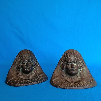 Antique 1920's Cast Iron Book Ends Bookends Doorstops American Indian Chief Head
