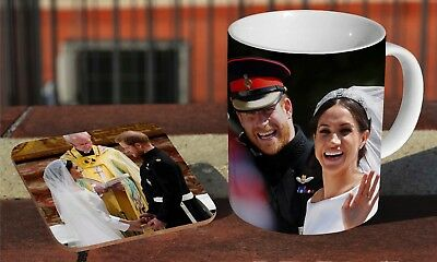 Royal Wedding Prince Harry And Meghan Wave Coffee MUG + Wooden Coaster Gift Set