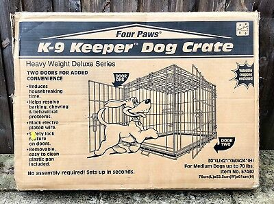 Four Paws -K-9 Keeper Dog Crate- Heavy Weight Deluxe Pet Cat Car Kennel Cage Box