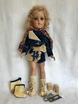 """Vintage Nancy Lee 15"""" Composition Doll Arranbee R&B Ice Skating For Repair"""