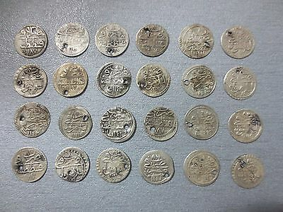 LOT of 24pcs QUALITY SILVER OTTOMAN TURKISH TURKEY ISLAMIC AKCE COINS RARE