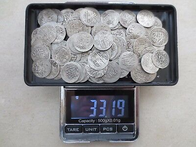 LOT of 100pcs QUALITY SILVER OTTOMAN TURKISH TURKEY ISLAMIC AKCE COINS - RARE!