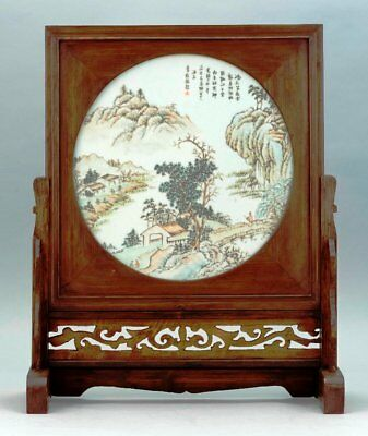A065 Chinese porcelain tile painting mounted in a wood table, 19th Century