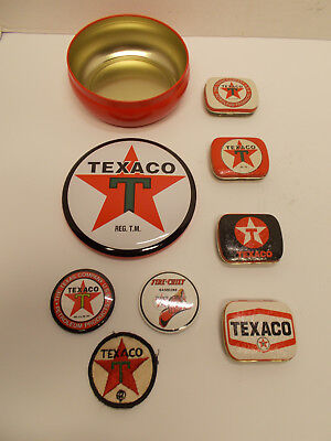 Lot of 8 TEXACO Advertising Collectibles~Pressed Tins~Magnets~Shirt Patches