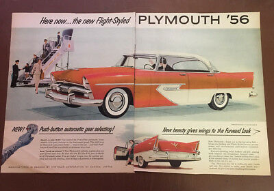 Stunning Massive 1956 Canadian Plymouth Belvedere Car Ad Trans Canada Airlines