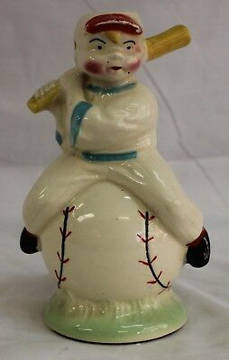 Vintage American Bisque Art Pottery Baseball Player On Ball Lamp Vase